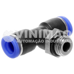 Tee união 08mm rosca central 1/8 bsp